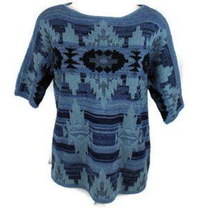 Chaps Denim Aztec Print Boat Neck Sweater